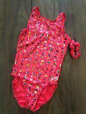 NWT GK Elite Hot Pink Rainbow Hearts Gymnastics Leotard Child & Adult Sizes
