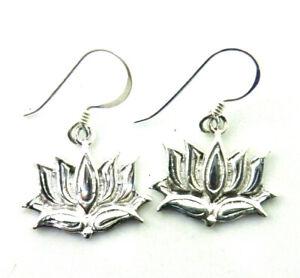 kleine Lotus Blüte Ohrringe 925 Sterling Silber Lotusblüte Blume Ohrhänger Neu