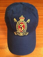 NWT POLO RALPH LAUREN NAVY GOLD 3 CREST 6 PANEL HAT COTTON TWILL SPORTS CAP