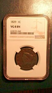 1829 CORONET HEAD Large Cent NGC VG8 BN 1C Penny Coin PRICED TO SELL