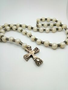"""UNO de 50 Ivory Pewter Silver Plated Cross Pendant Handmade Necklace 28"""""""