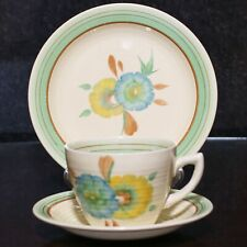 Clarice Cliff Art Deco LYNTON Shape HONEYDEW Pattern Trio