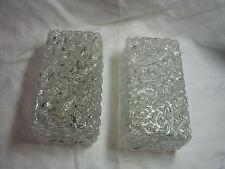 Pair Mid Century 60´s Ice Glass Shade LIMBURG Wall Lamps Mirror Sconces #<
