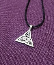Celtic Knot Trinity Triquetra Silver Pendant Leather Necklace