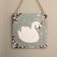 Swan Wooden Hanging Plaque Sign Handmade Decoupaged