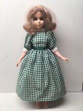 "Vintage 1963 EEGEE 15"" Doll Gemmette ~ Redressed In Beautiful Green Plaid Dress"