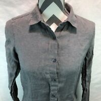 J.Jill Gray 100% Linen Button Front Blouse Long Sleeve Collared XS