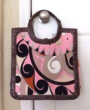 EMILIO PUCCI LEATHER corduroy FABRIC TOTE purse bag pink brown shopper