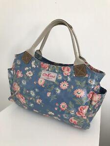 Cath Kidston Pvc Blue Floral Hand Bag Zip Pockets
