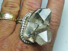 Vtg Sterling Silver Natural Quartz Crystal Cluster RING Large Size 15 Hand Made