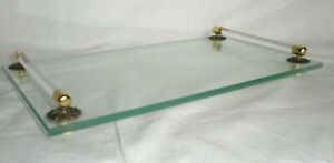 Vintage  12 inch Glass Vanity Tray With Lucite Handles