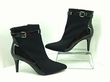 Charles by Charles David Aver Black Patent & Fabric Zip Ankle Booties Sz 8.5