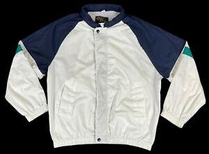 Vintage Cal Craft Mens Lightweight Full Zip Softshell Wind Jacket White Large L
