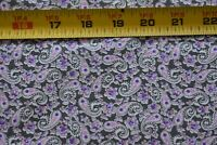 By 1/2 Yd Pink & Lavender Floral Paisley on Gray Cotton, Fabric Traditions N5381