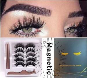 Magnetic liquid Eyeliner 5Pairs magnets False Eyelashes Easy Wear Lashes Set UK