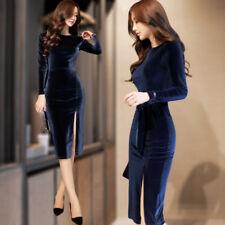 Autumn winter Latest Korean fashion elegant Package buttocks pleuche dress New