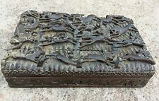 ANTIQUE RARE JUNGLE HUNTING VIEW- DEER/WOLF/HUNTER ENGRAVED CHINESE WOODEN BOX