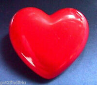Hallmark PIN Valentines Vintage HEART Red PUFFED Solid Holiday Brooch
