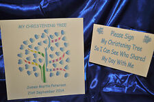 """12"""" x12"""" Boy Christening tree Personalised Alternative Guest Book NO INKS"""