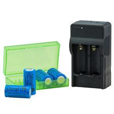 3in1 UltraFire 16340 Caricabatterie Digitale +4xuf 1200mah 3,6v BATTERIA BRC 16340 cr123a