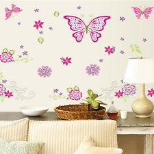 Butterfly Flower DIY Kids Bedroom Wall Stickers Baby Nursery Home Decor Decal