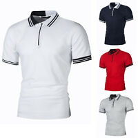 Men Polo Shirts Short Sleeve Tee Stylish Slim Fit Casual Blouse Tops T-Shirt