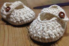 Patucos Blanco 3/6 Hueso Bebe Crochet Recién Nacido Botón Madera Artesanal Nuevo