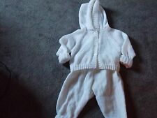 Hand Knitted Hooded White Pram Suit 6-12mths NEW