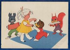 SOVIET LATVIAN POSTCARD girl dancing bear animals mucisians VERY RARE ch 246b