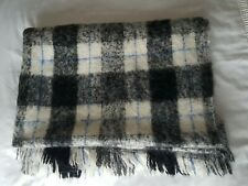 Lovely wool blend picnic blanket / throw in black, white and grey check