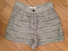 SESSUN Cotton & Linen Green Tweed Shorts Size 34 / XS / 8
