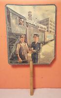 Vintage GARRETT SNUFF 1935 TRAIN RAILROAD Calendar Paper Hand Fan ADVERTISING