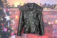 Womens Marks & Spencer Black Leather Jacket size Uk 8 No.W542 22/12