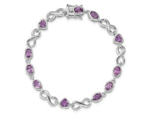 Sterling Silver Amethyst Polished Heart Bracelet