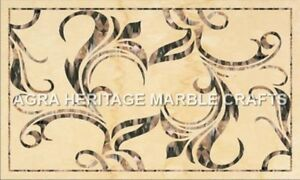 3'x2' White Marble Outdoor Dining Table Mosaic Inlay Furniture Home Decor H4993