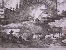 HIRTE mit KÜHEN an FELSEN / FELSENRUINE: KUPFERSTICH UM 1800