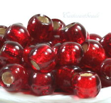 Rondelle Beads, Lg Hole, 12mm, Ruby Red w/ Silver Lining, Czech, 4 Pcs, 0043