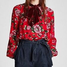 BNWT ZARA Red Floral Gucci Blooms Style Velvet Bow Blouse Top Sz XS 6/8 UK
