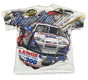 2007 New Hampshire Speedway White All Over Print Racing T Shirt Men's M/L VTG