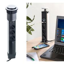 revolt Versenkbare 3-fach-Tisch-Steckdosenleiste mit 2 USB-Ladeports, Ø 76 mm