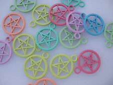 10 Assorted Colours Pentagram Pentacle Charms Pendants Beads Pagan Wicca Gothic