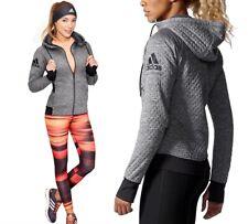 Adidas Daybreaker Damen Winter Laufjacke Training Jacke Fleecejacke grau/schwarz