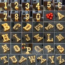 LED Light Up Alphabet Letter Lights White Plastic Letters Standing Hanging A-Z,@