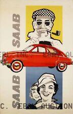 Saab Vintage Auto Poster automobile advertisement print  ca 8 x 10 print poster