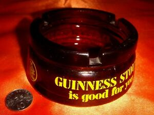 GUINNESS® Glass Ash Tray, Great as Paper Weight, Scarce Collectible Item