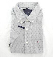 New Mens Xlarge Xl Tommy Hilfiger White Navy Blue Dot Dress Shirt Short Sleeve