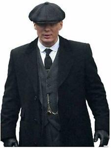 Mens 3/4 Long Black Wool Crombie Overcoat Jacket Peaky Blinders Slim Fit Coat