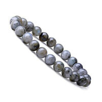 Natural 8mm Labradorite Gemstones Healing Crystal Stretch Beaded Bracelet