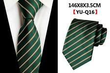 Green Silver Tie Silk Stripe Patterned Handmade 100% Silk Wedding Necktie