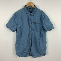 Wrangler Mens Button Up Shirt Size Large Blue Chambray Short Sleeve Collared